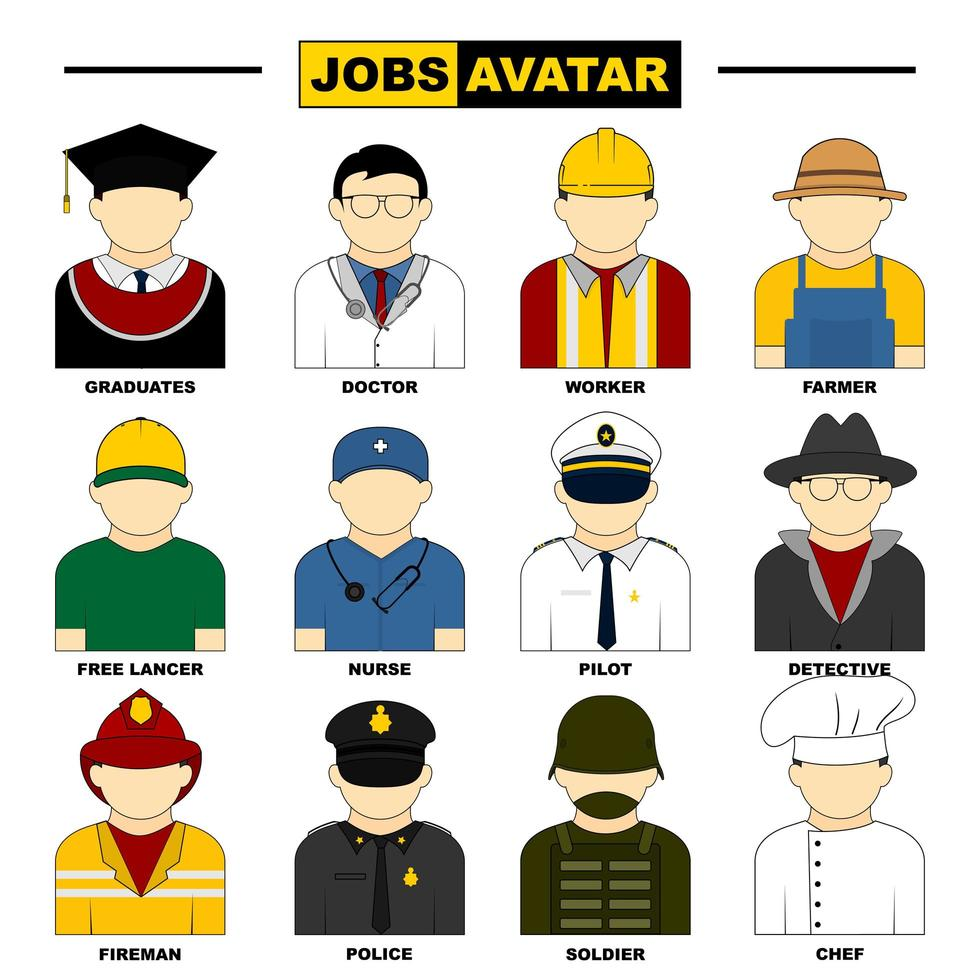 set di avatar di lavoro maschile vettore