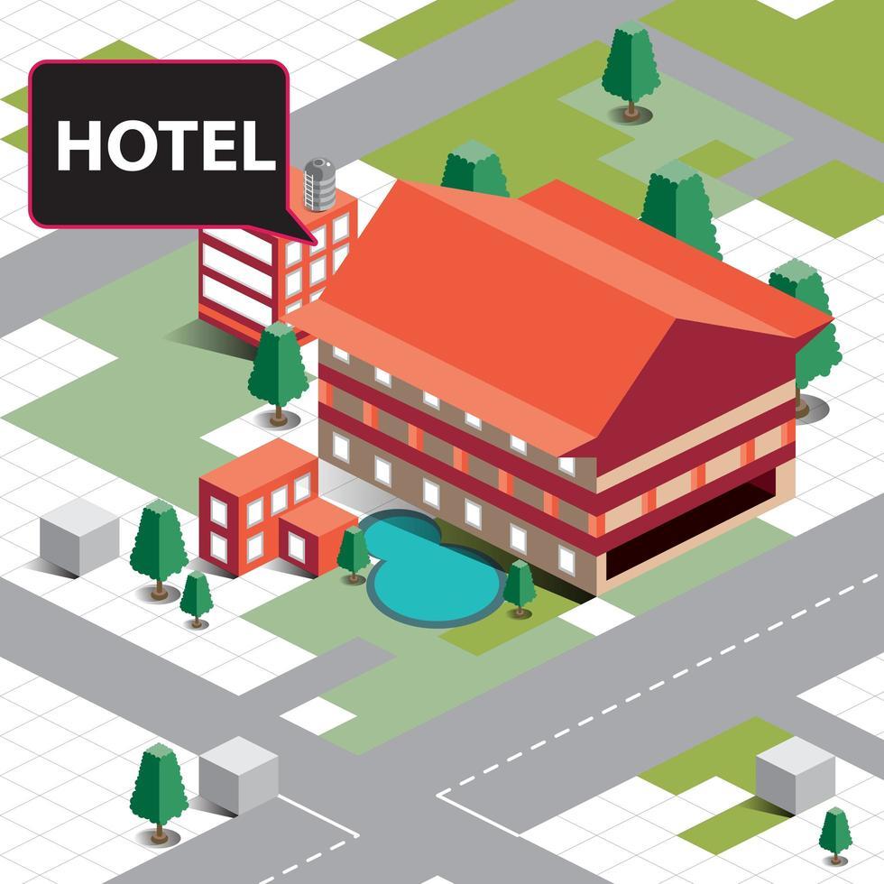 edificio isometrico dell'hotel vettore