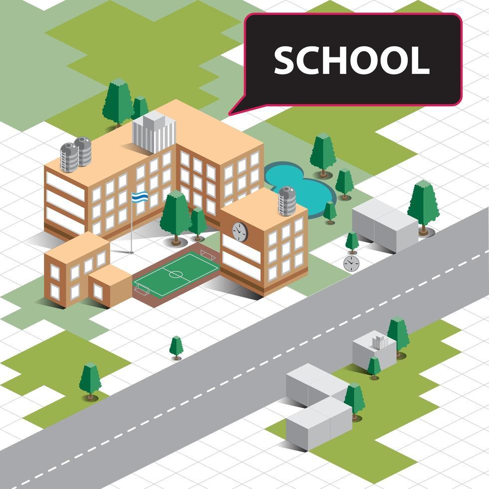 paesaggio scolastico isometrico vettore