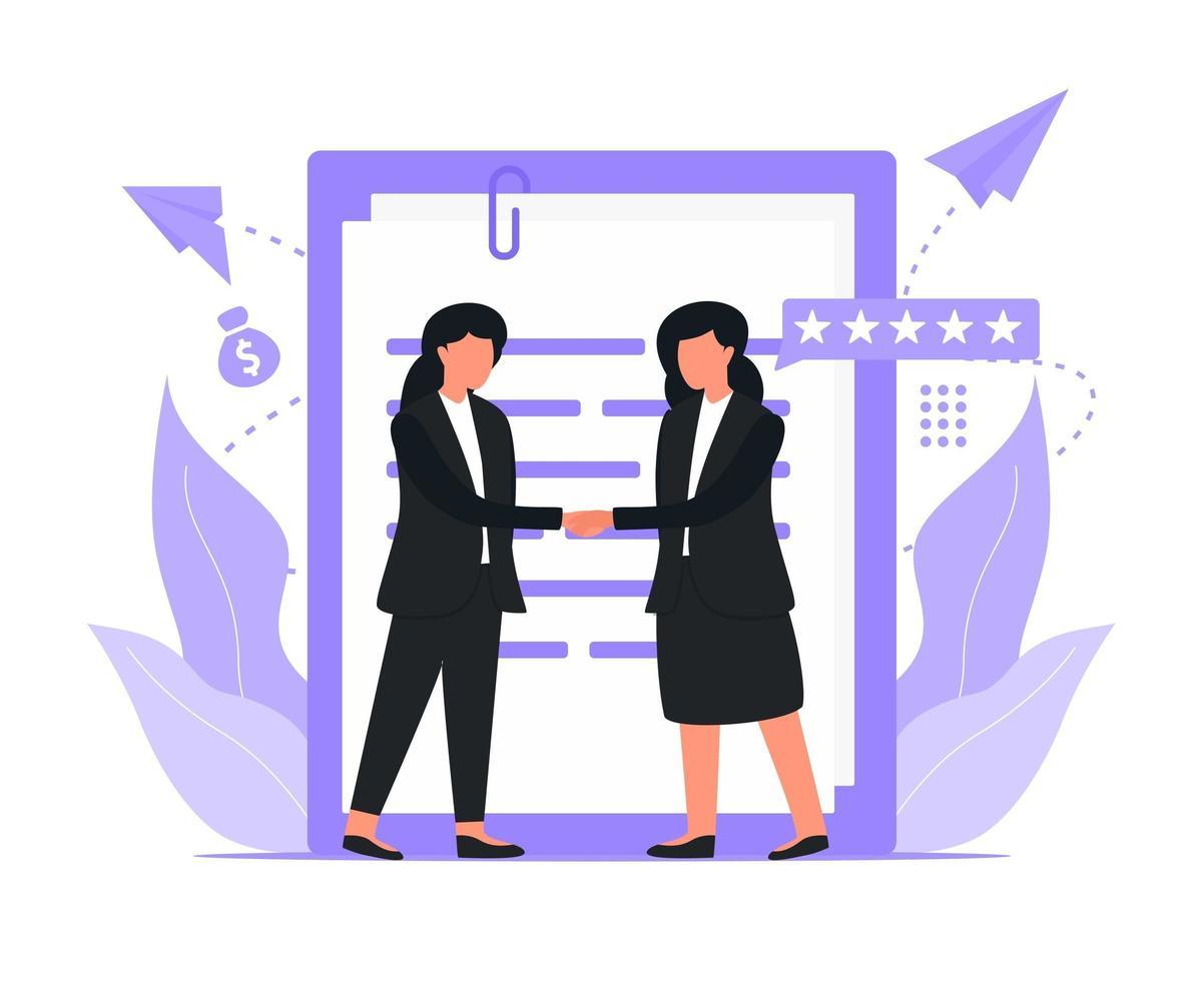 donne d'affari si stringono la mano vettore