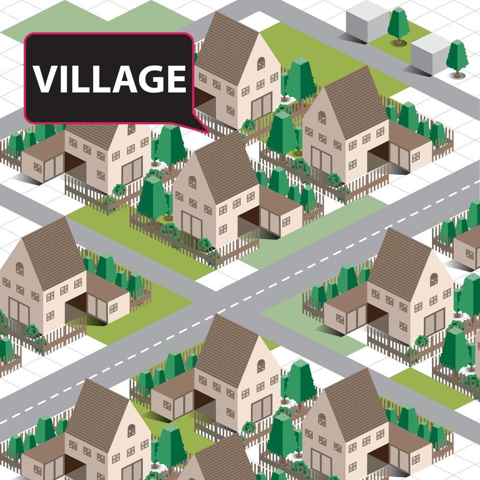 mappa del villaggio isometrico vettore