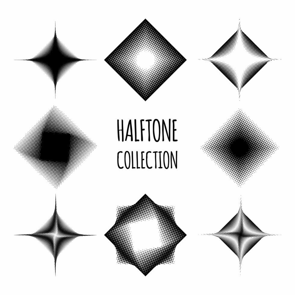 collezione di pattern mezzetinte diamante vettore