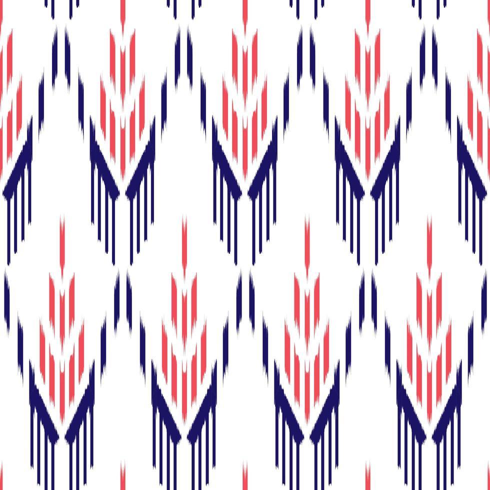 modello di tessuto etnico rosso e blu su bianco vettore