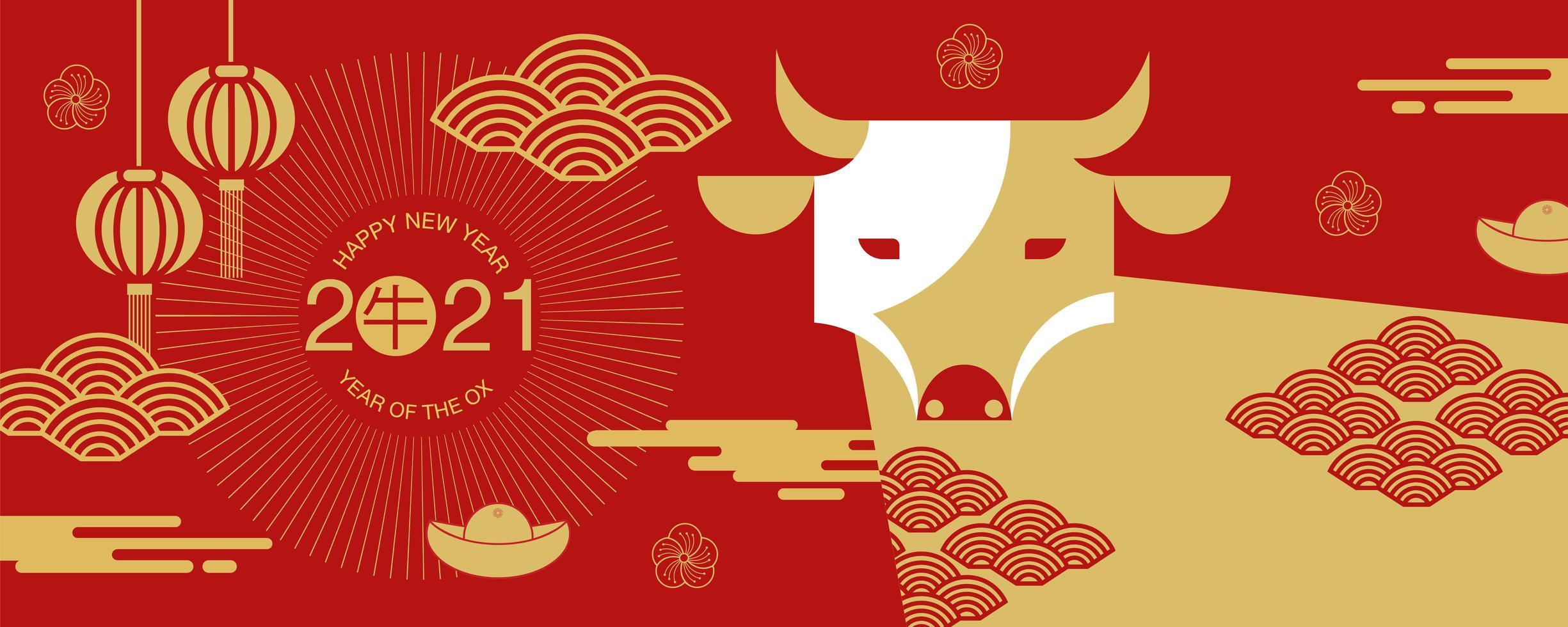 Bandiera cinese di nuovo anno 2021 con vista frontale del bue vettore