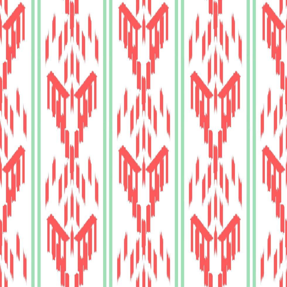 ikat verde e rosso senza cuciture vettore