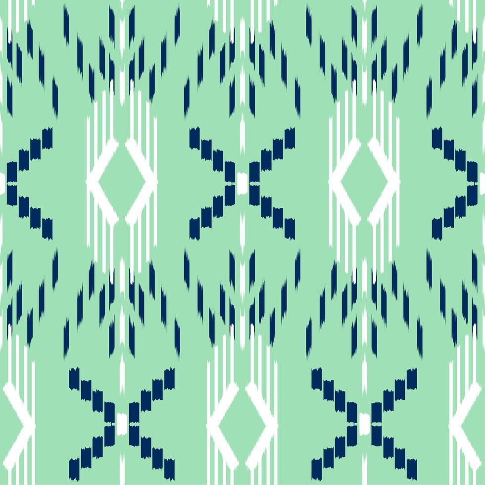 ikat verde, bianco e blu senza motivo vettore