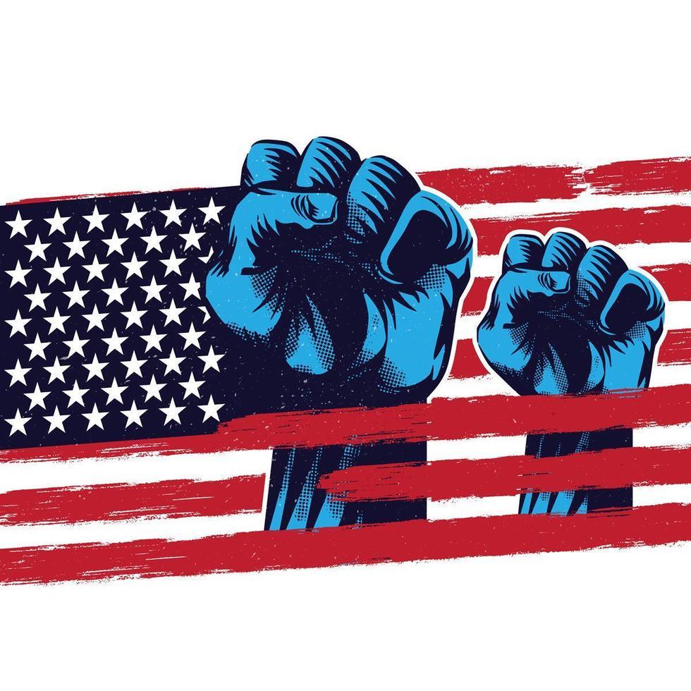 bandiera del pugno alzata bandiera americana vettore