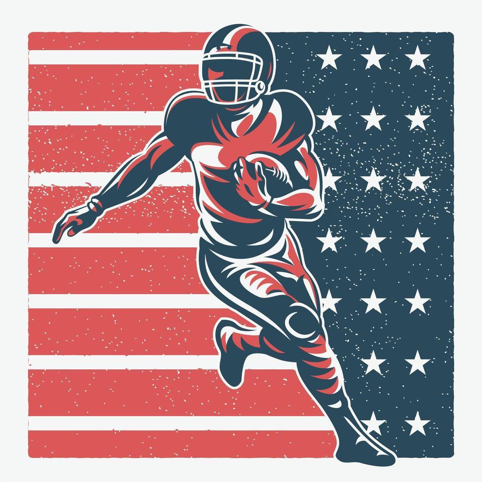 giocatore di football americano sulla bandiera america vettore