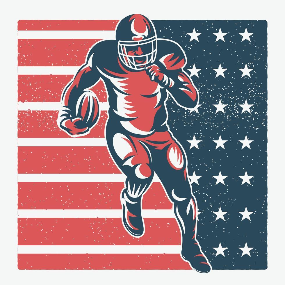 giocatore di football in esecuzione sulla bandiera americana strutturata vettore