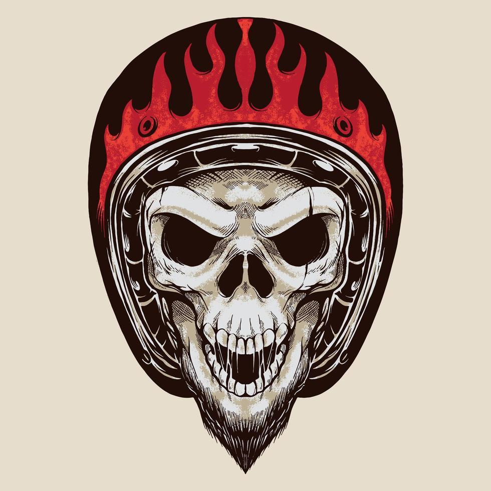 teschio vintage biker con barba vettore