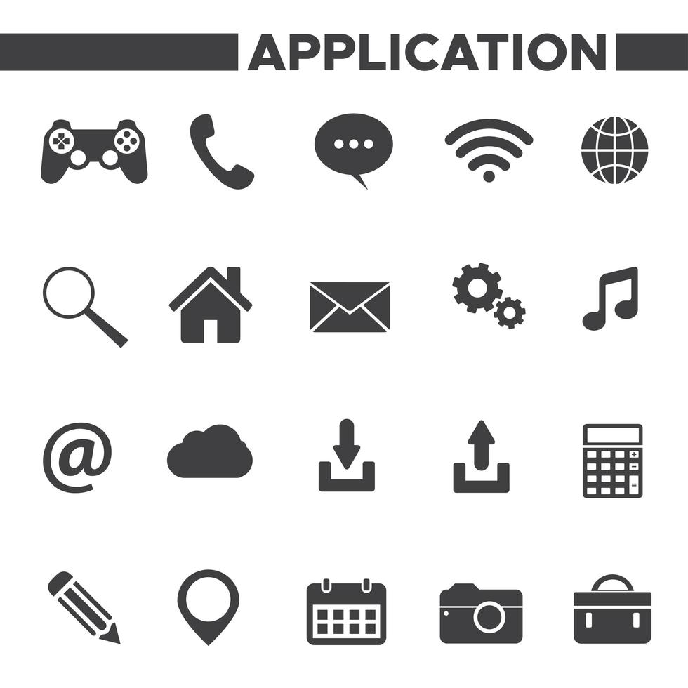 set di icone delle applicazioni vettore