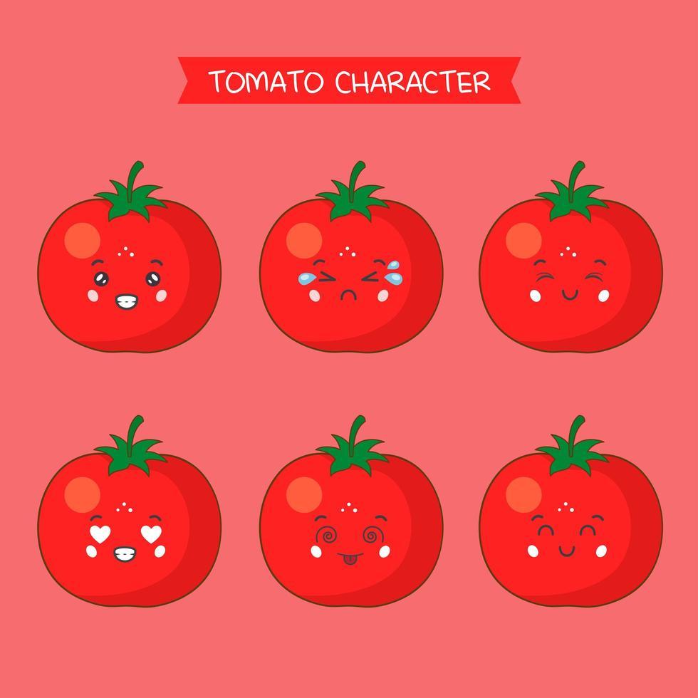 set di personaggi di pomodoro carino vettore