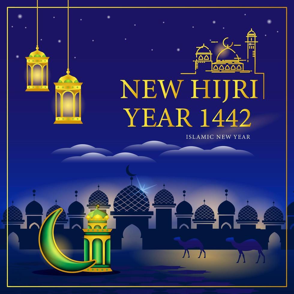 nuovo anno islamico e felice muharram vettore