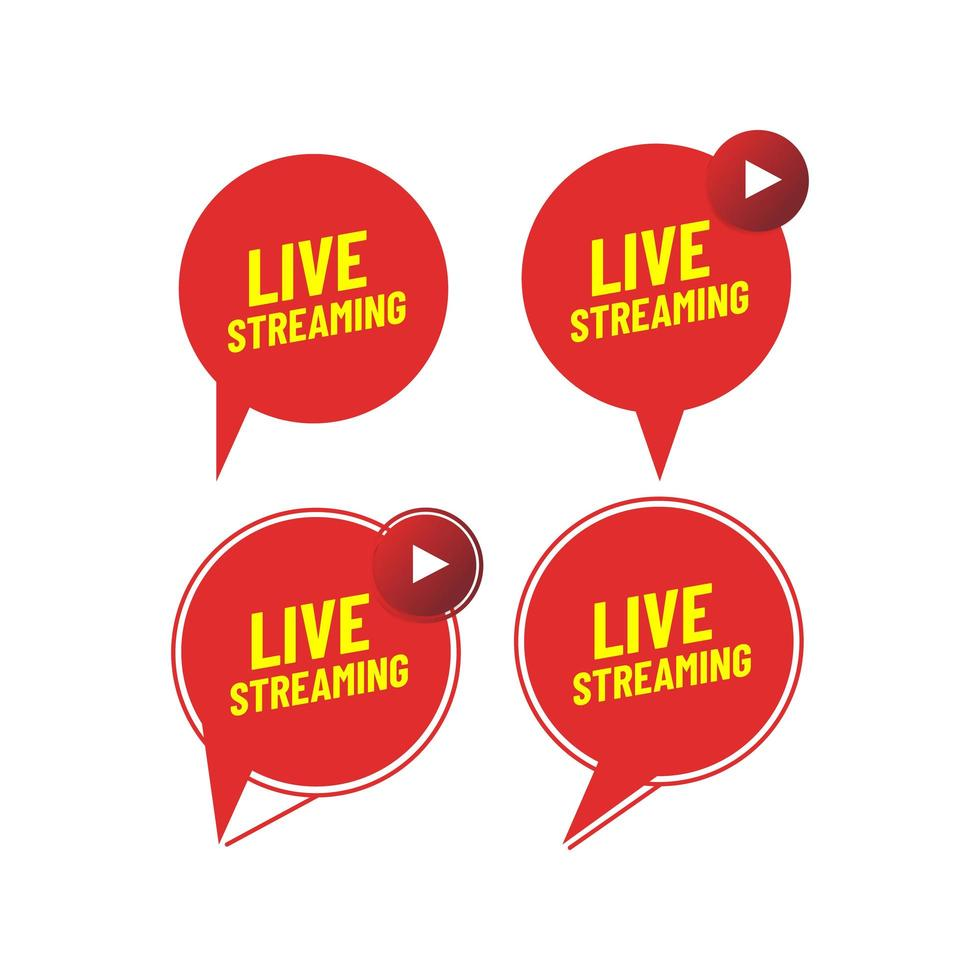 set di icone live streaming vettore