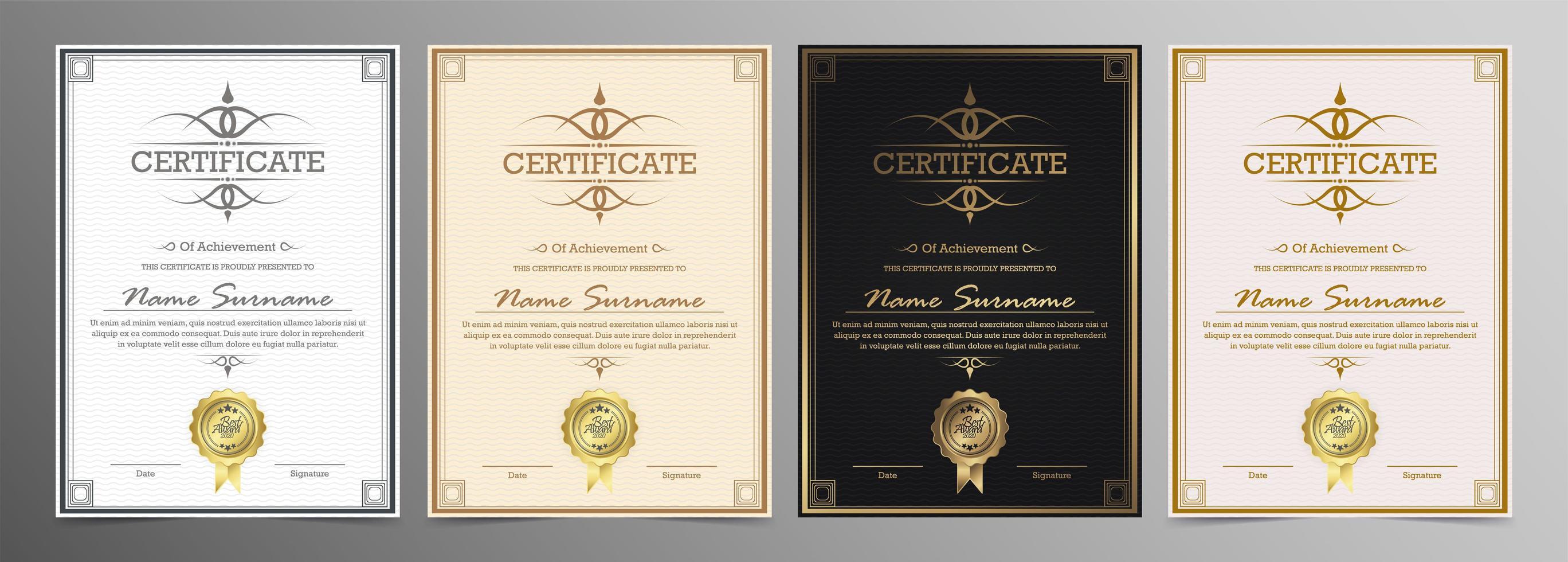 set di certificati modello certificato vettore