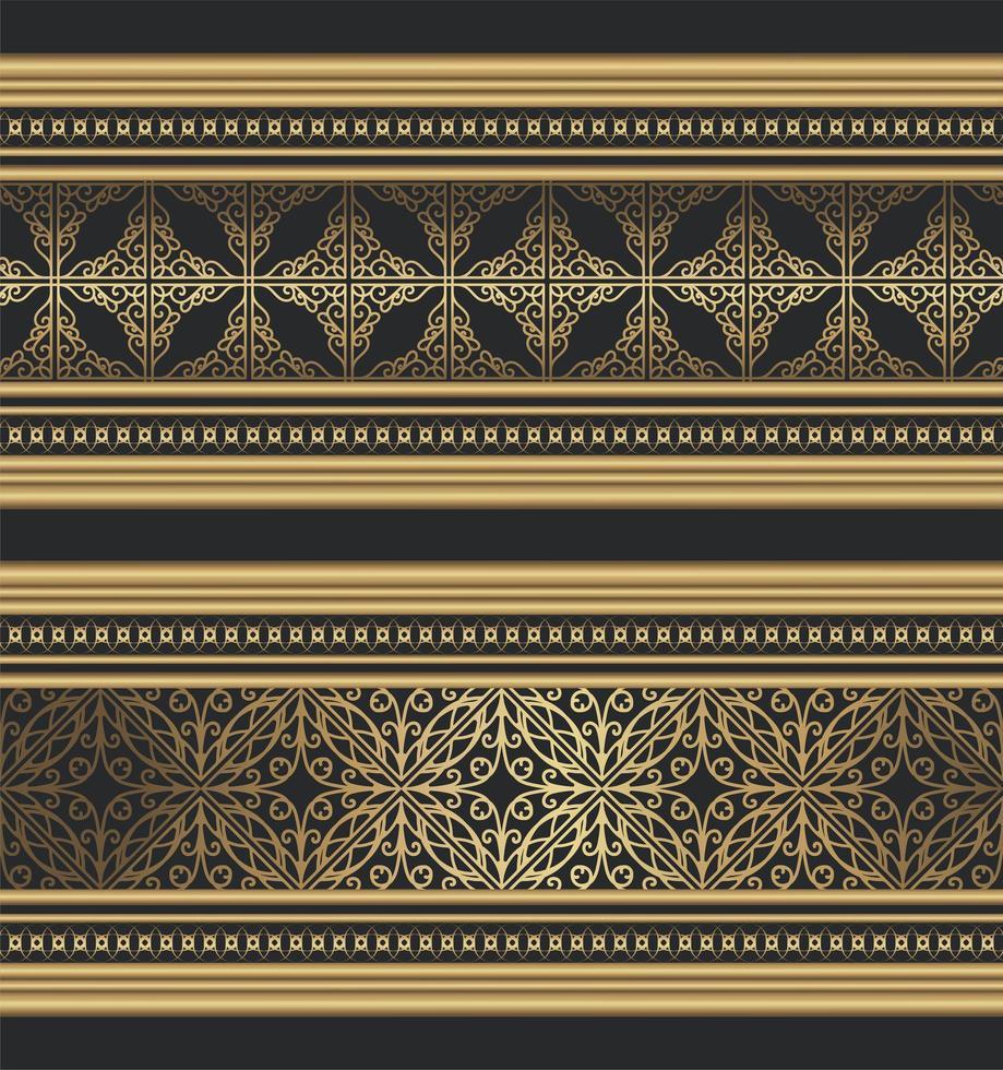 bordo ornamentale dorato fantasia vettore
