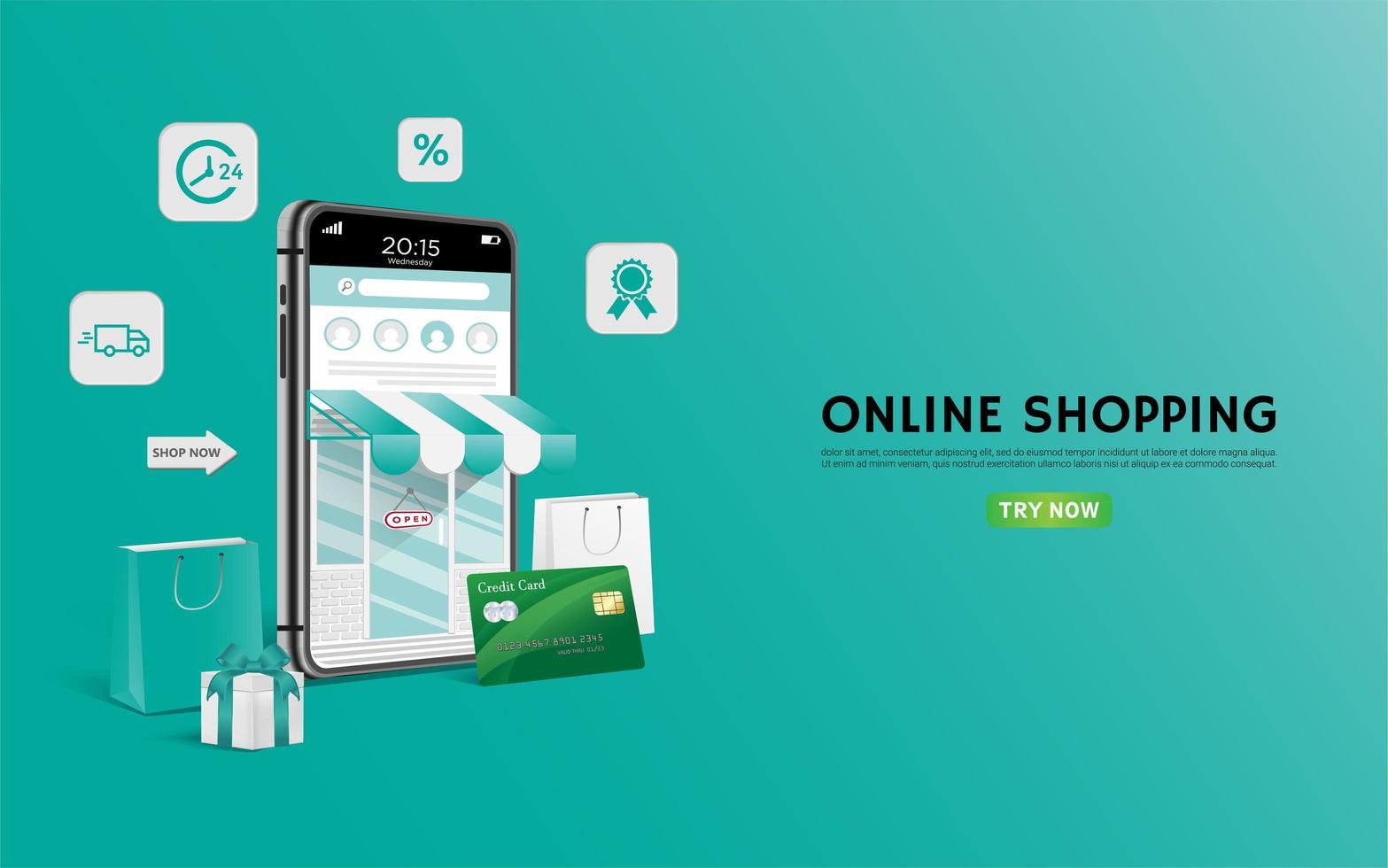 landing page o banner verde dello shopping online vettore