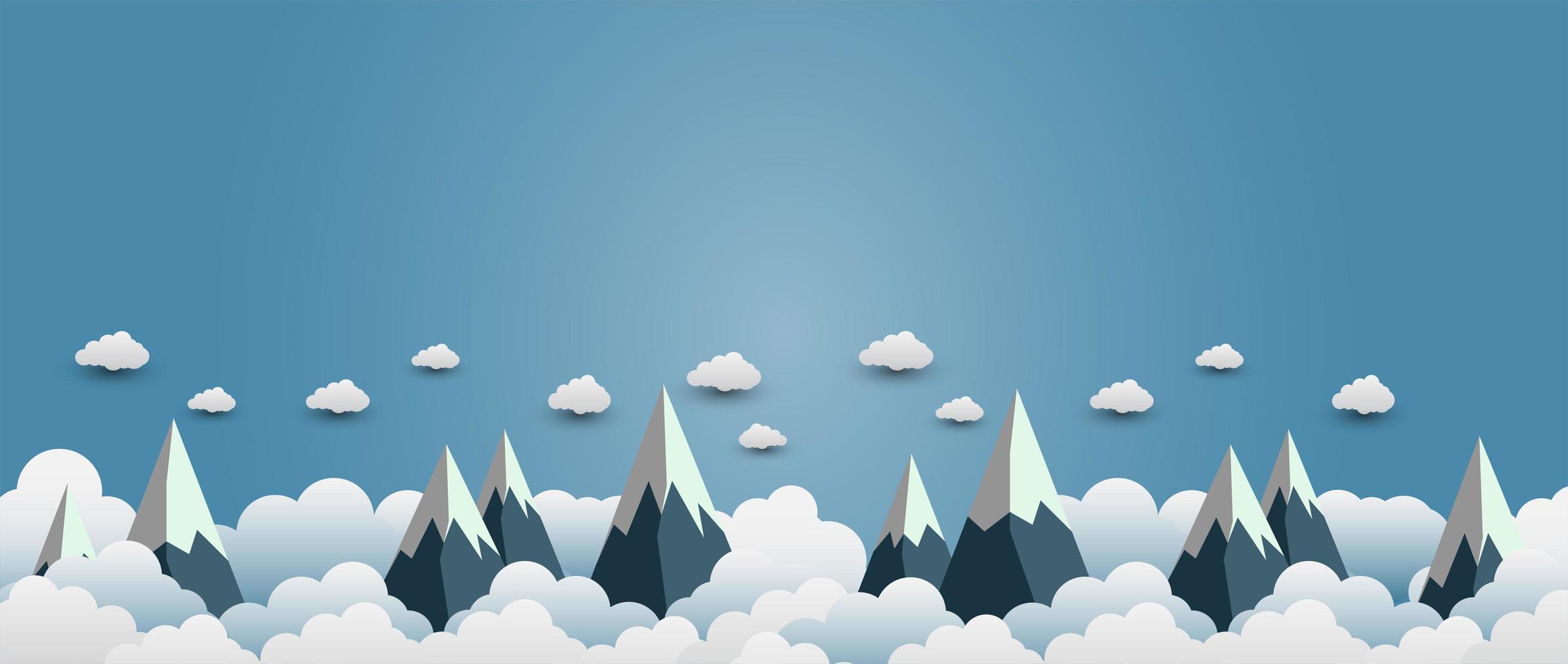 montagne di neve con belle nuvole vettore