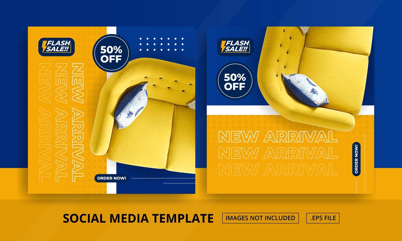 modelli di social media a tema mobili arancione e blu vettore