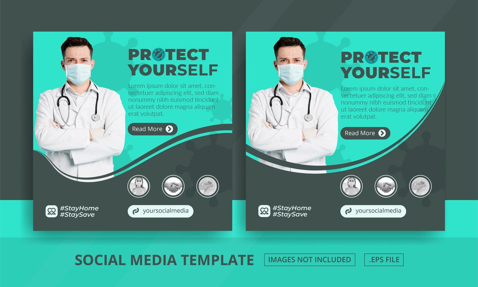 post sui social media di protezione della salute verde e grigio vettore