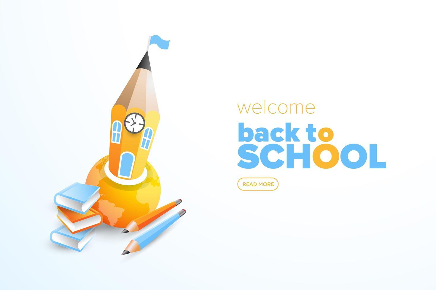 torna al poster della scuola con la matita nel globo vettore