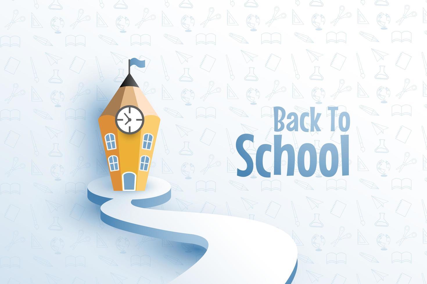 ritorno al design della scuola con la matita come edificio vettore