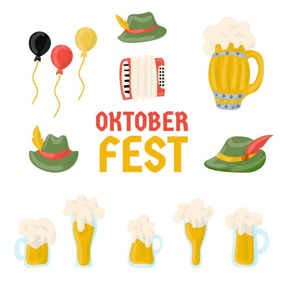 collezione di elementi del festival più oktoberfest vettore