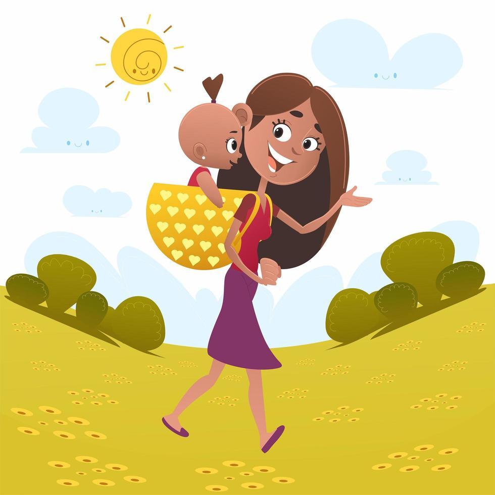 mamma che cammina con il bambino in campo vettore