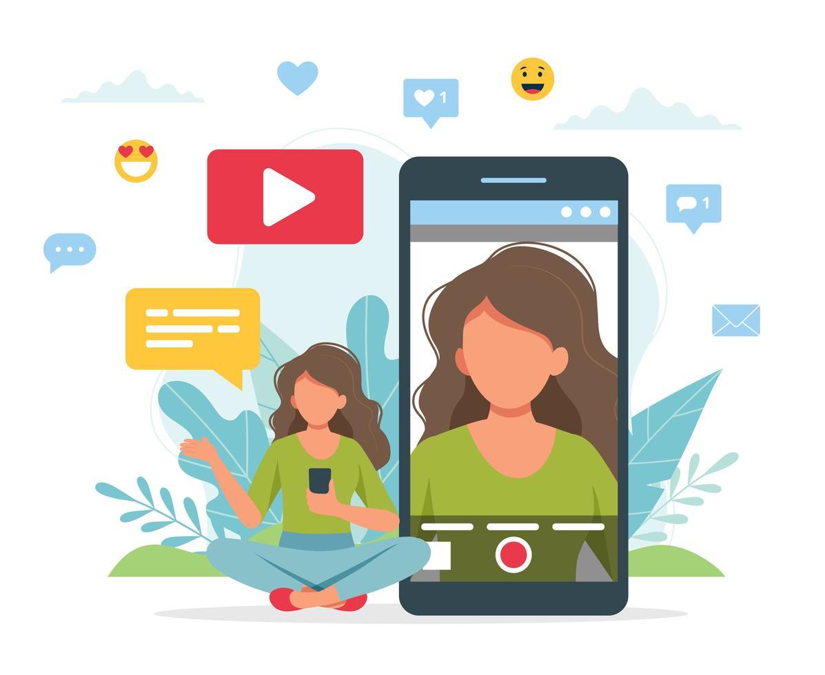 video blogger che registra video con lo smartphone vettore