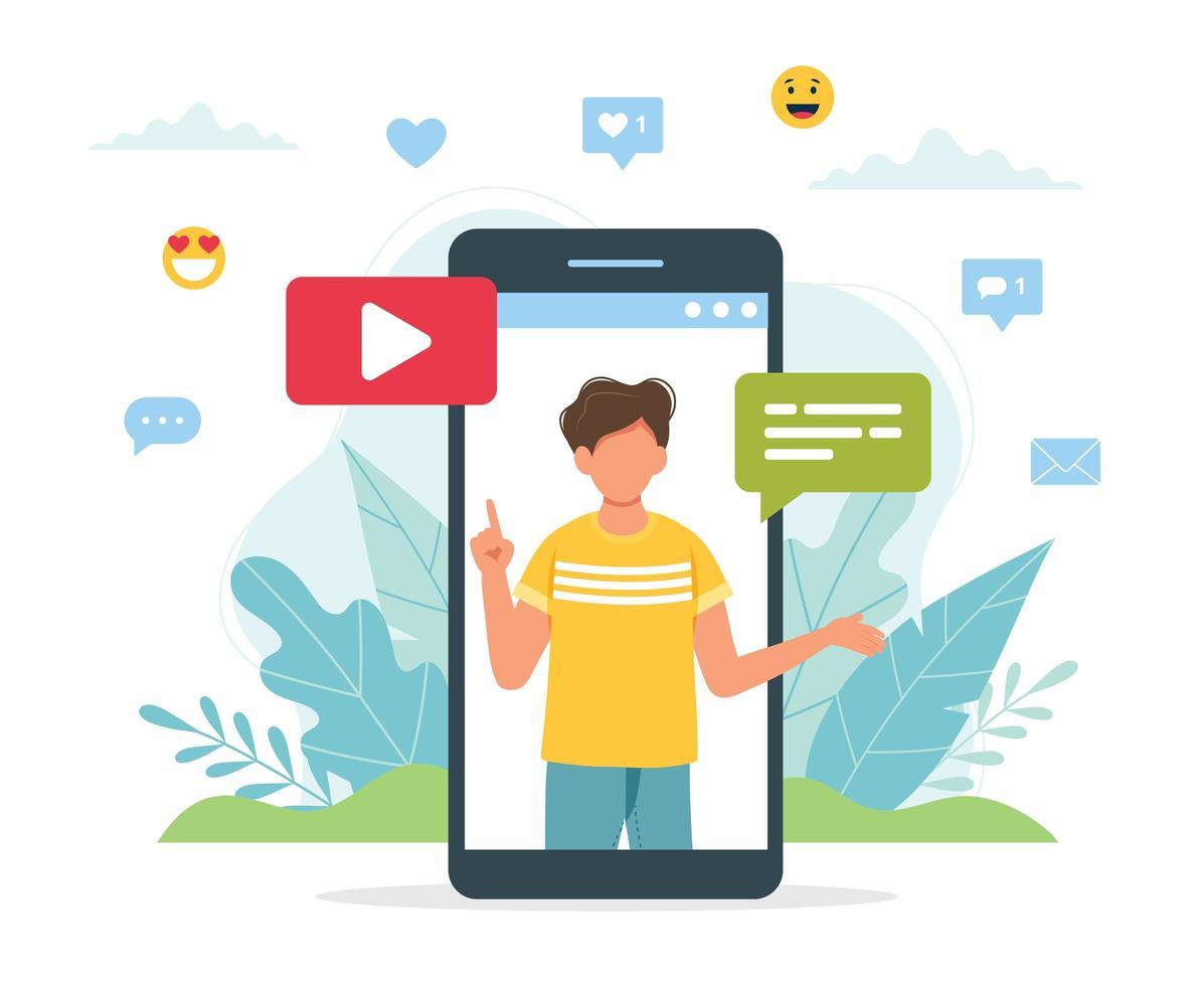blogger video maschio sullo schermo dello smartphone vettore