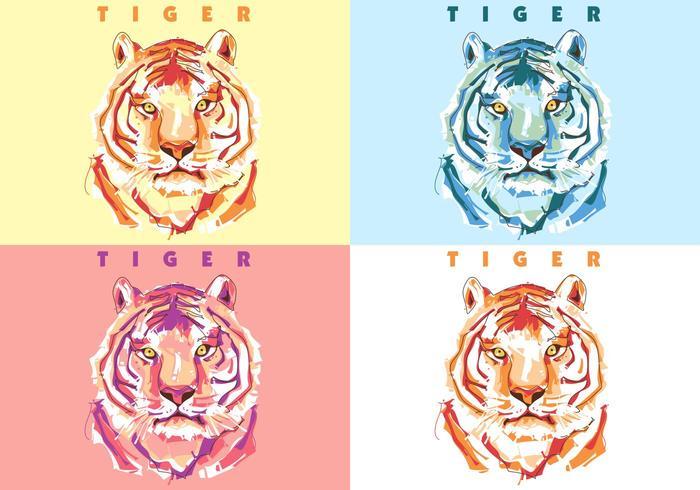 Tigre colorata vettore