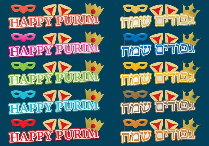 Titoli di Purim felici vettore