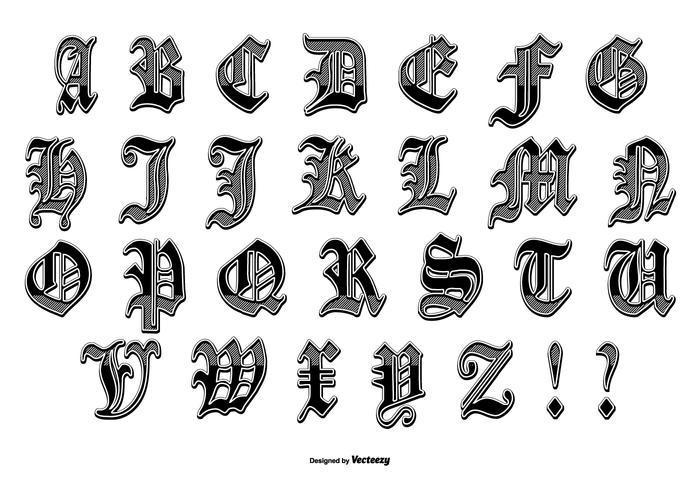 pacchetto alfabeto stile hydro74 vettore