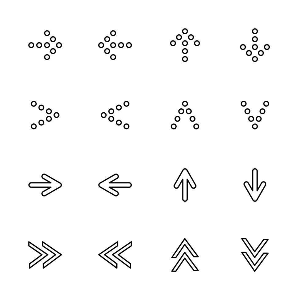 set di frecce allineate puntate a sinistra, a destra, in alto, in basso vettore