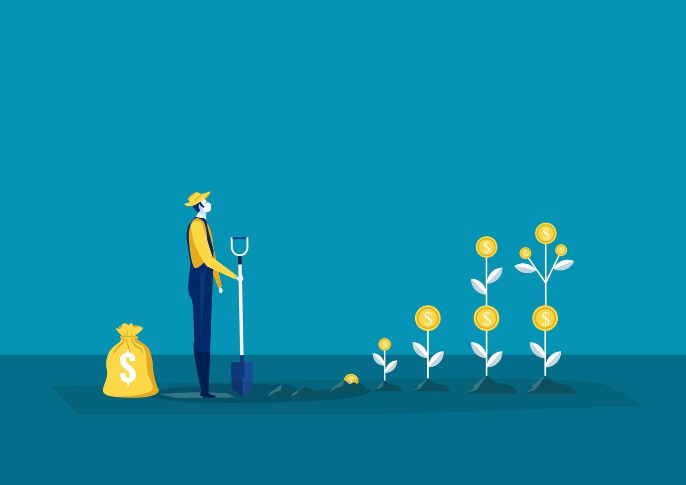 l'agricoltore pianta un albero di soldi vettore