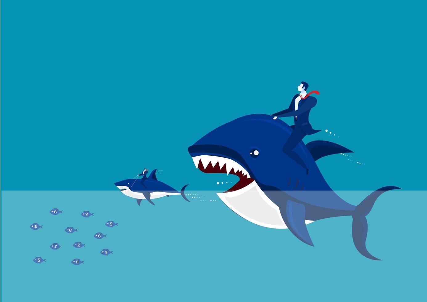 uomo d'affari cavalcando grandi pesci che mangiano pesci più piccoli vettore