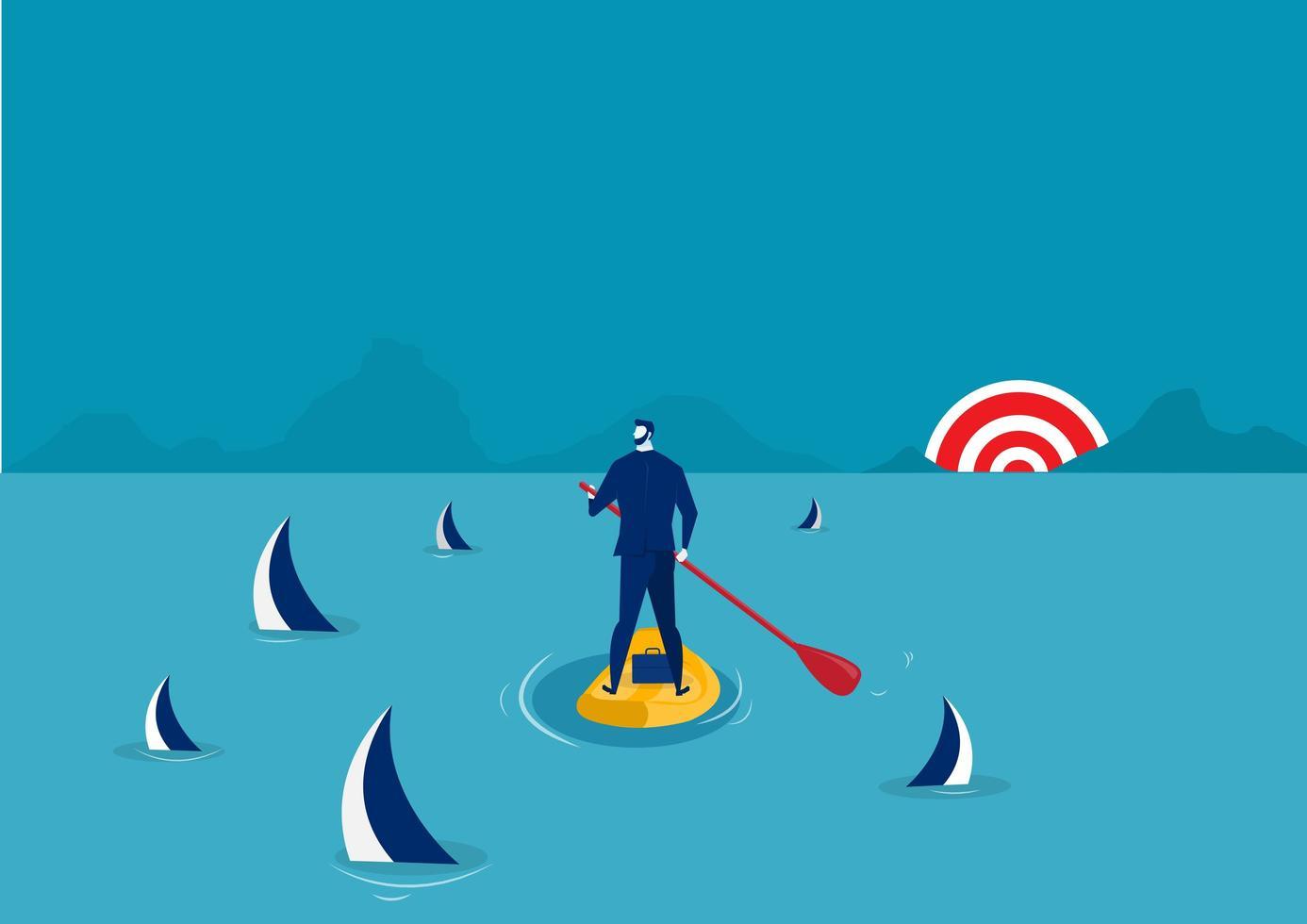uomo d'affari paddle boarding tra gli squali vettore