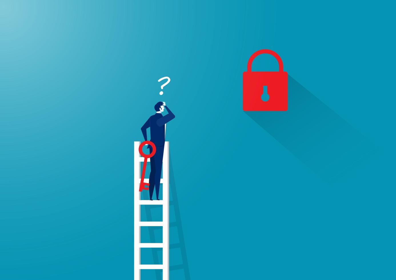 uomo d'affari con chiave sulla scala lontano dalla serratura vettore