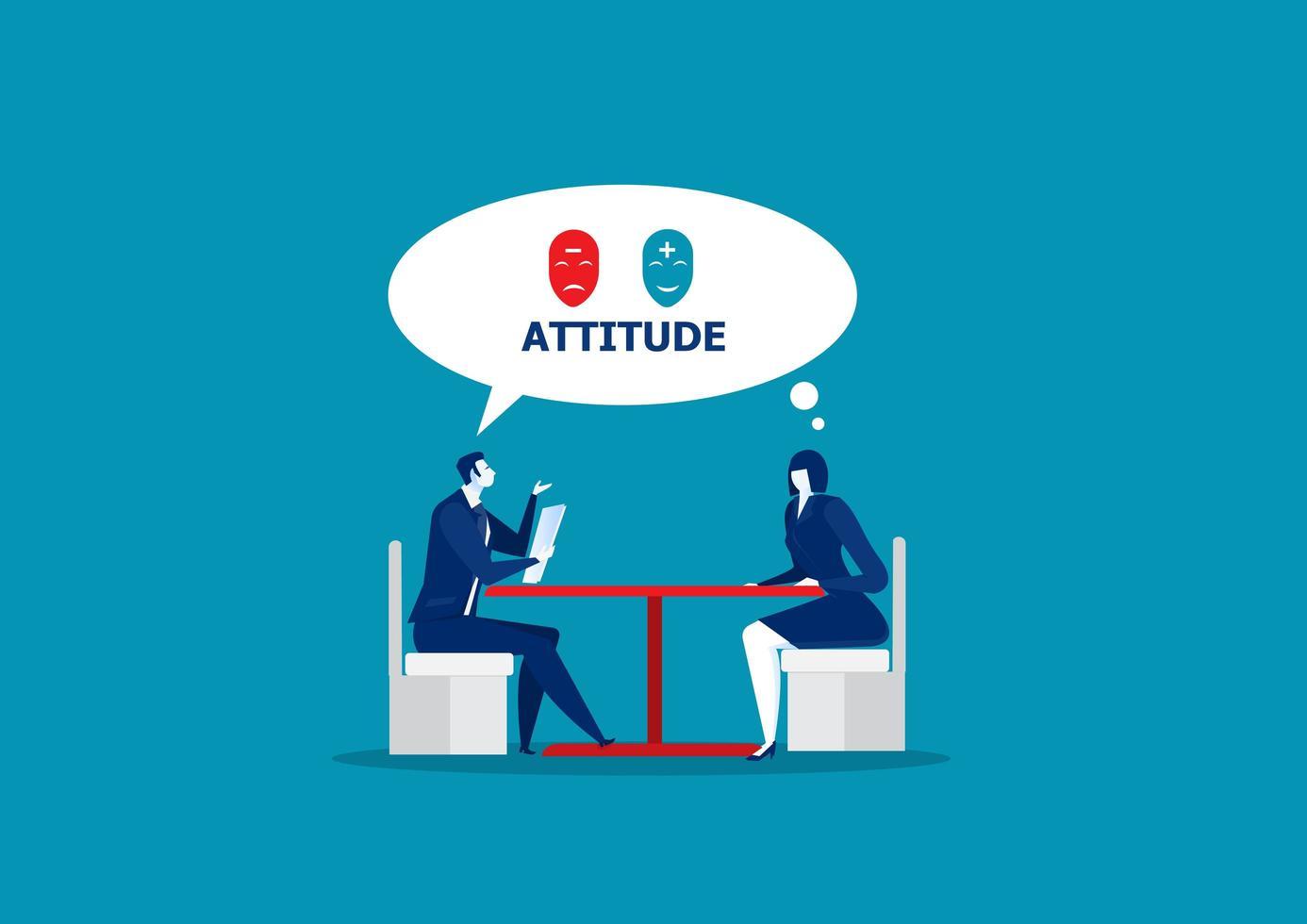 capo verifica l'atteggiamento durante il colloquio di lavoro vettore