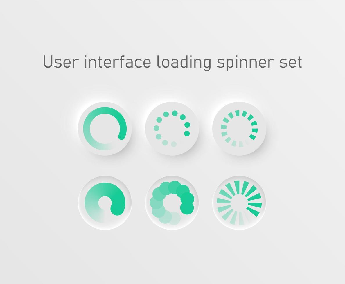 set di barre di caricamento circolare bianco e verde vettore