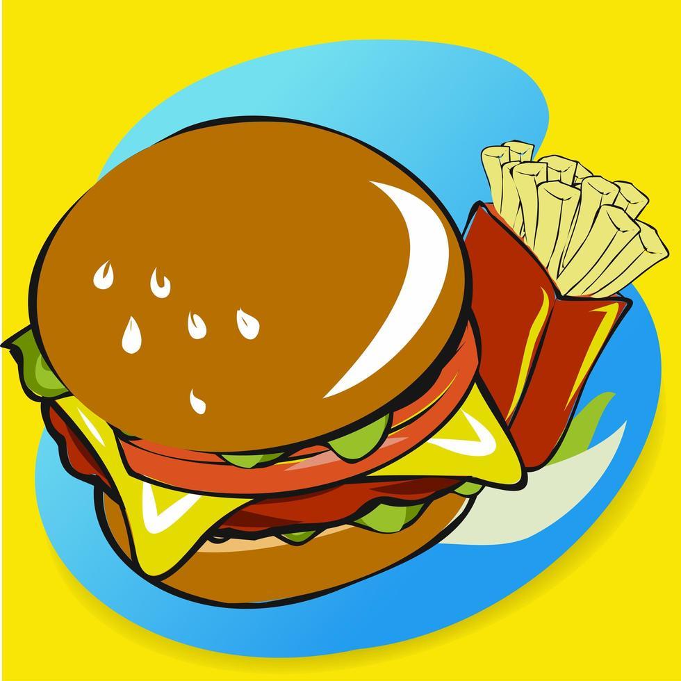 hamburger e patatine fritte disegnati a mano vettore