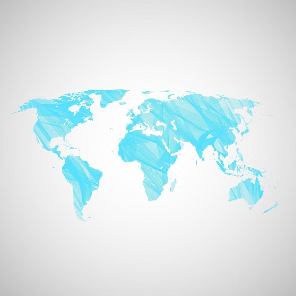 mappa del mondo blu vettore