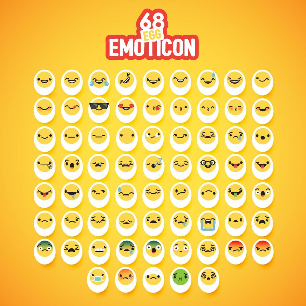 set di emoticon uovo giallo vettore