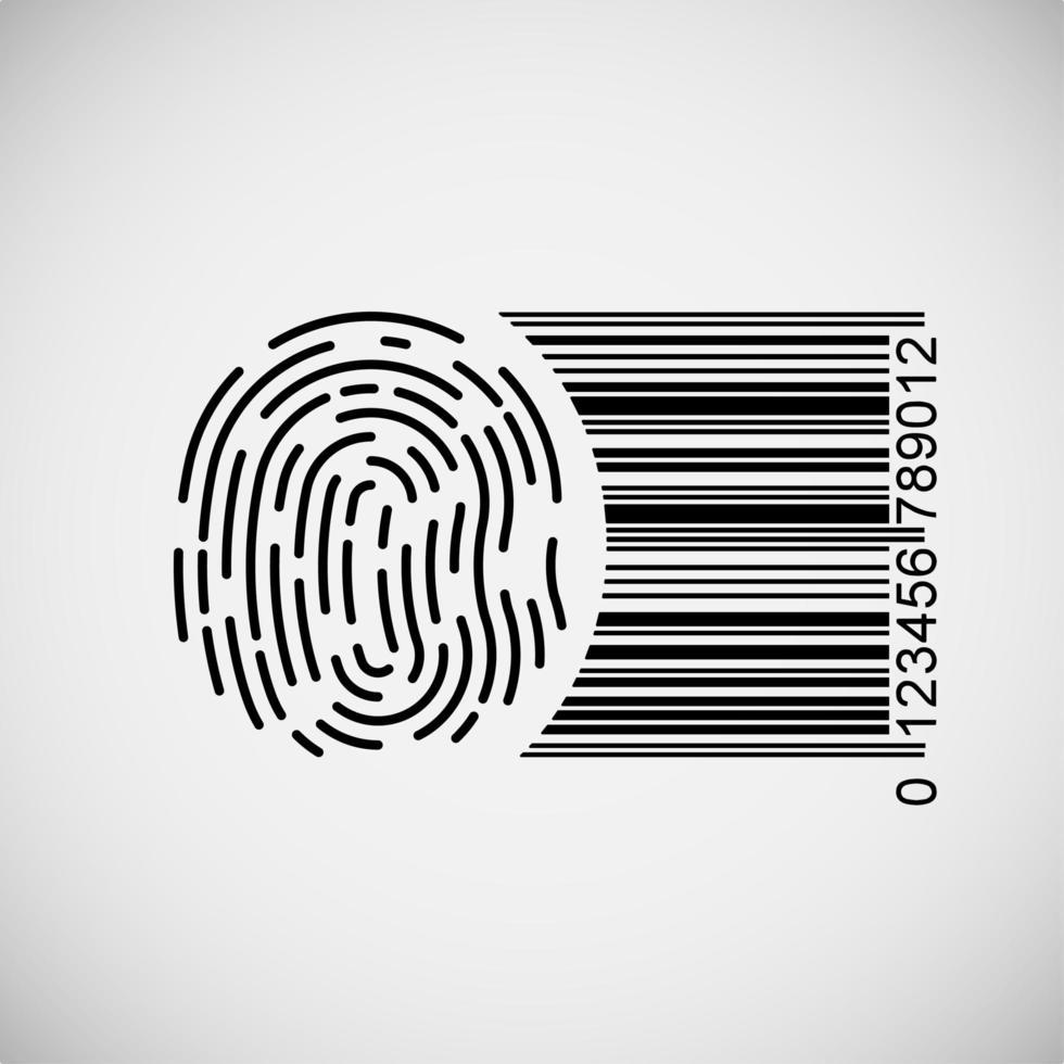 impronta digitale con codice a barre vettore