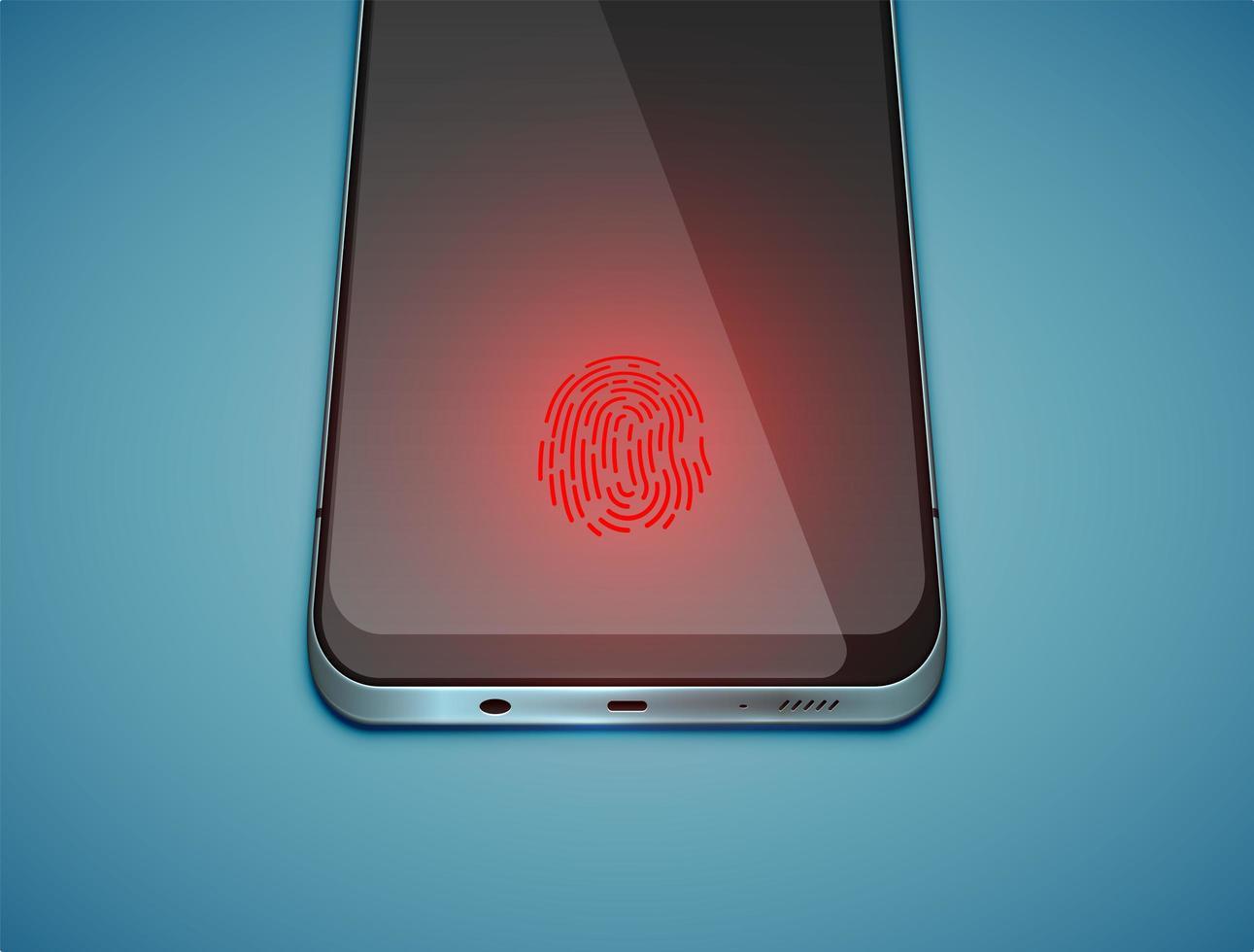 sensore di impronte digitali rosso sul display vettore