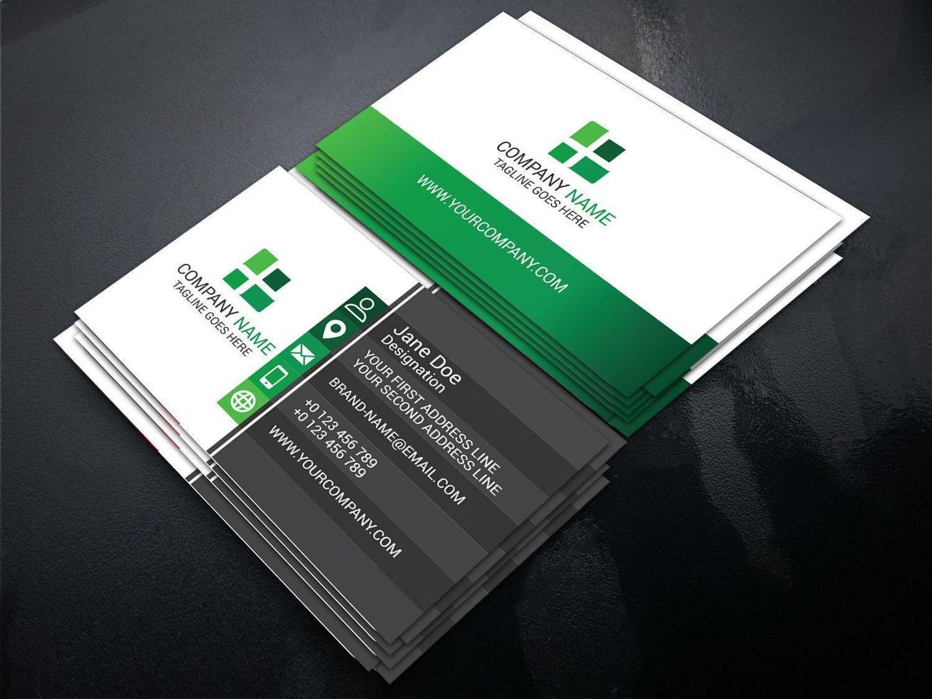 modello di biglietto da visita unico colore verde sfumato vettore