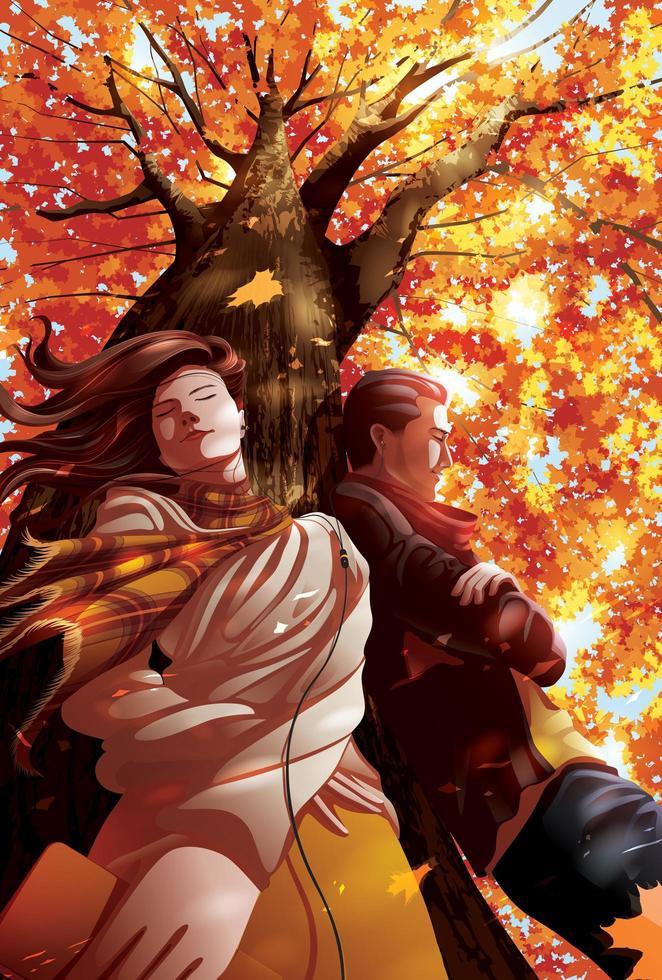 due amanti ascoltano musica insieme sotto un albero vettore