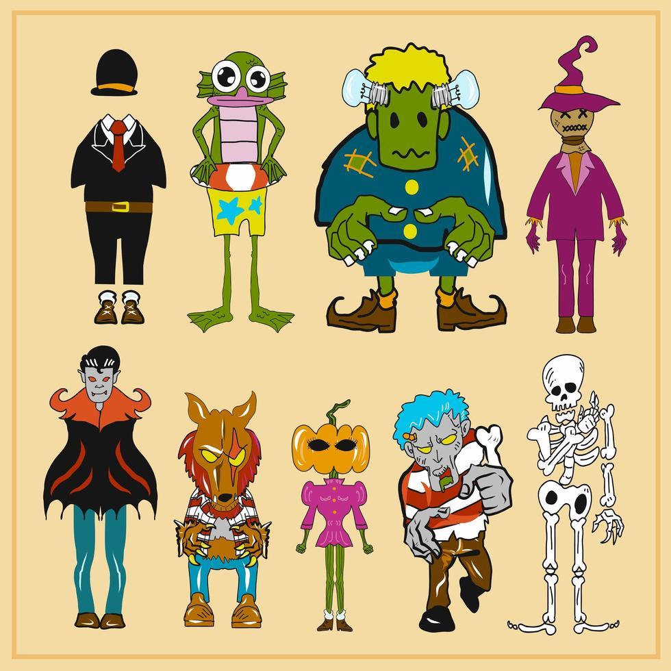 collezione di mostri di halloween vettore