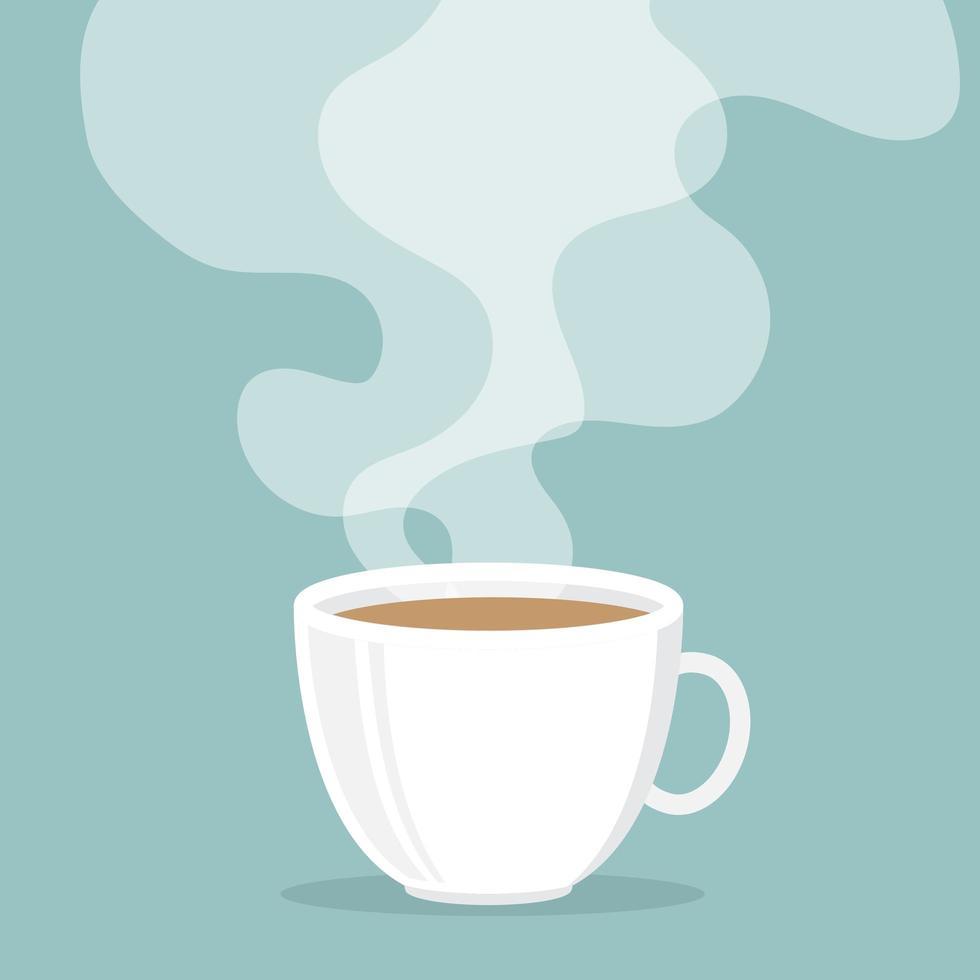 tazza di caffè con fumo galleggiante vettore