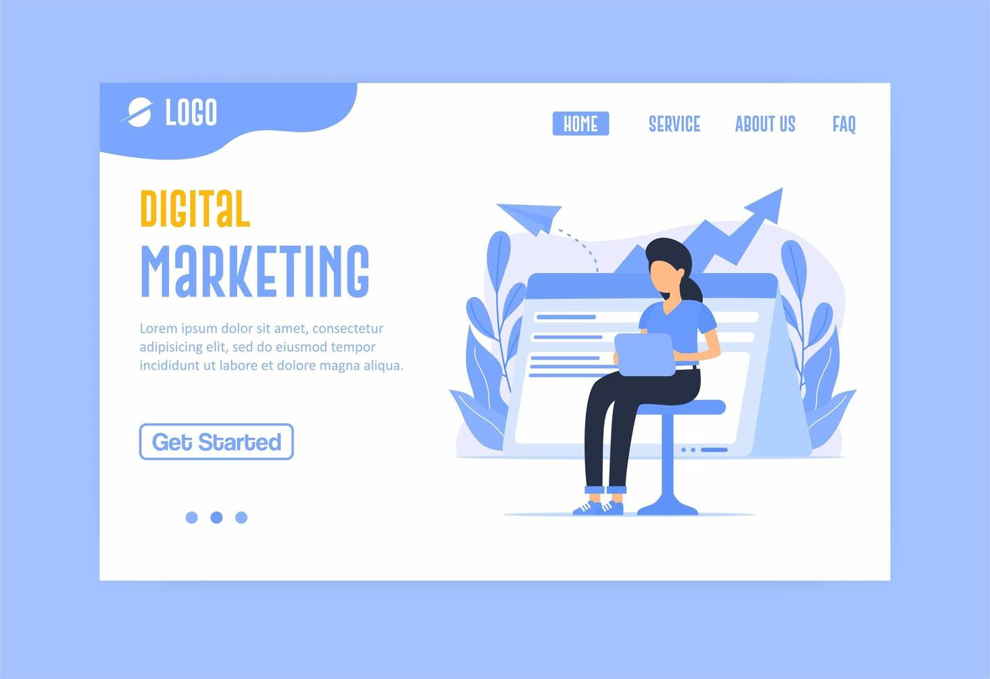 landing page di marketing digitale in blu vettore